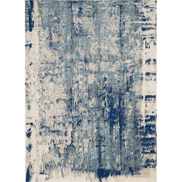 Heffington Abstract Ivory/Blue Area Rug by Williston Forge