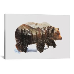 'Arctic Grizzly Bear' by Andreas Lie Graphic Art on Wrapped Canvas by Brayden Studio