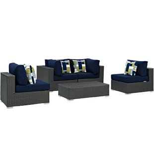 Sojourn 5 Piece Rattan Sunbrella Sectional Set with Cushions by Modway