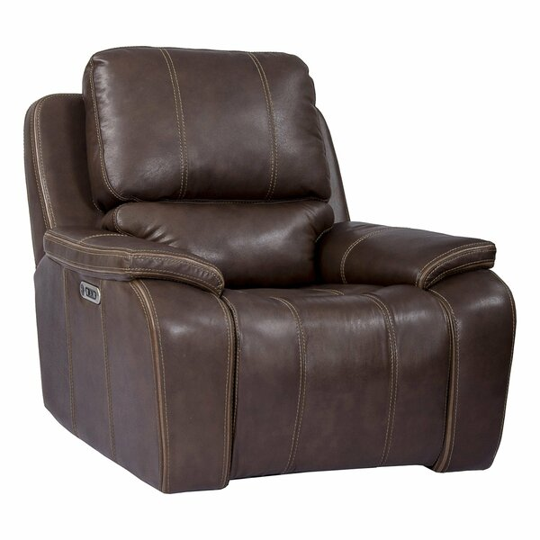 Aycock Leather Power Recliner Red Barrel Studio W002610739