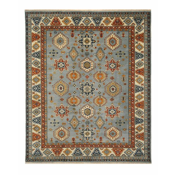 Drewry Traditional Southwestern Hand-Knotted Wool Blue/Ivory Area Rug by Bloomsbury Market