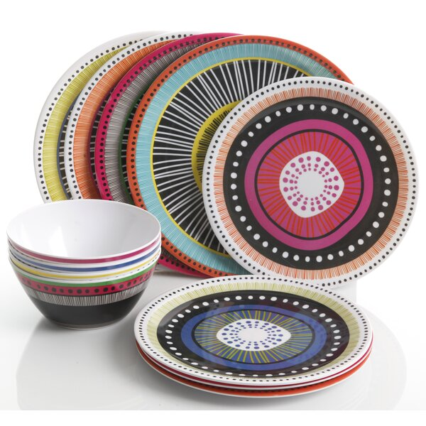 Jack Melamine 12 Piece Dinnerware Set, Service for 4 by Bungalow Rose