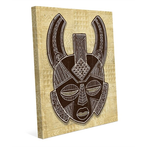 African Mask Horns - Tan Graphic Art on Wrapped Canvas by Click Wall Art