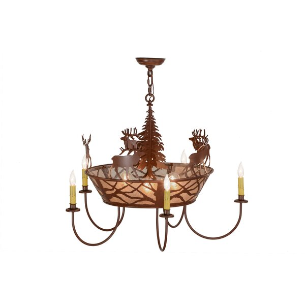 Elk on The Loose 8-Light Chandelier by Meyda Tiffany