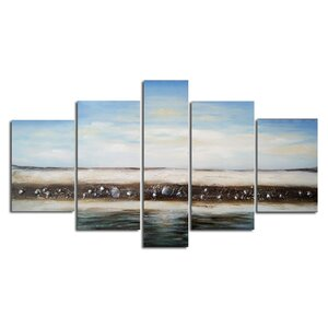 Deserted Bliss Beach 5 Piece Painting on Canvas Set by Design Art