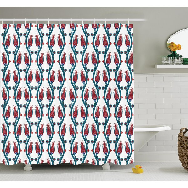 Ottoman Style Floral Art Shower Curtain Set by Ambesonne