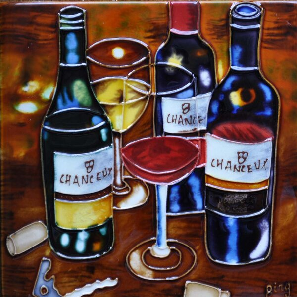 3 Wine Bottles and 2 Wine Glasses Tile Wall Decor by Continental Art Center