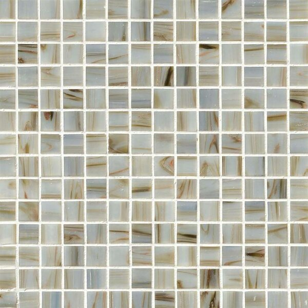 0.75'' x 0.75'' Glass Mosaic Tile in Ivory Iridescent by MSI