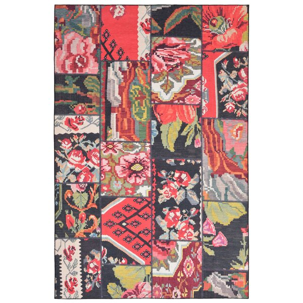 Kangley Collage Red Indoor/Outdoor Area Rug by Bungalow Rose