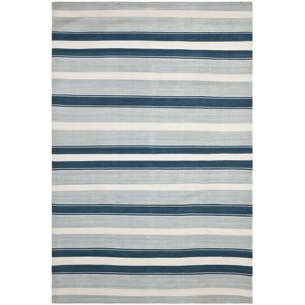 Narragansett Stripe Hand-Woven Silk Ocean Sky Area Rug by Lauren Ralph Lauren