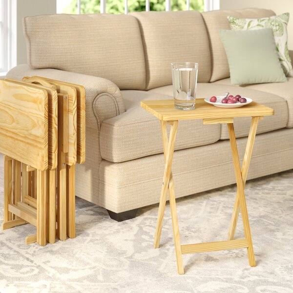 Mischa TV Tray Table with Stand (Set of 4) by August Grove  @ $134.50