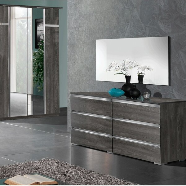 Orey 6 Drawer Double Dresser with Mirror by Orren Ellis