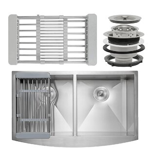 33 x 20 Farmhouse Apron Stainless Steel Double Bowl 50/50 Kitchen Sink w/ Adjustable Tray and Drain Strainer Kit ByAKDY