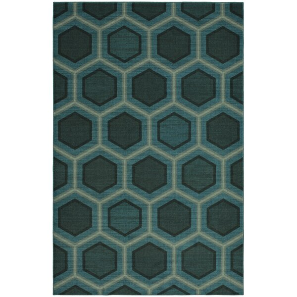 Honeycomb Blue Area Rug by Brayden Studio