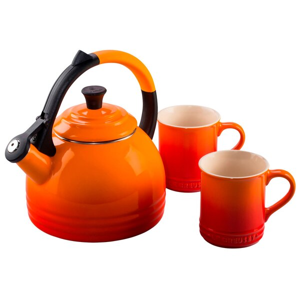 Le Creuset Enamel On Steel 3 Piece 1.7 Qt. Peruh Tea Kettle U0026 Mug Set U0026  Reviews | Wayfair
