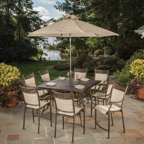 Doucette 9 Piece Bar Height Dining Set With Umbrella by Red Barrel Studio