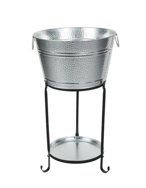 Ulyana Galvanized Round Party Beverage Tub with Stand and Round Tray by Darby Home Co