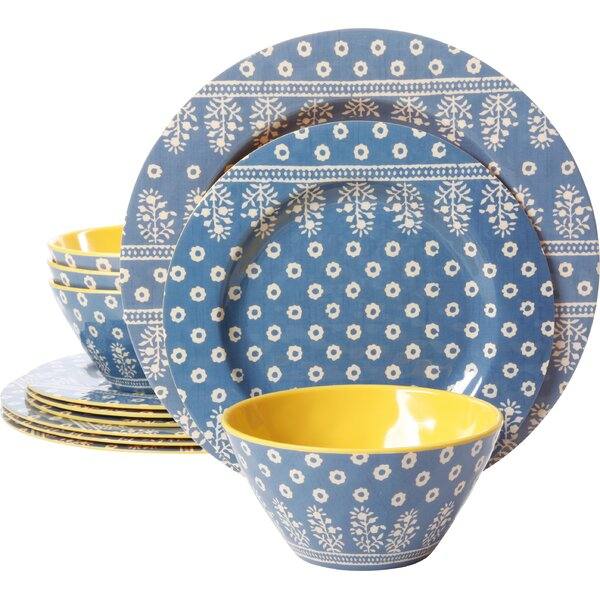 Studio California By Laurie Gates Melamine Zoey 12 Piece Dinnerware Set, Service for 4 by Gibson