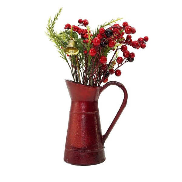 Christmas Decoration Berry and Foliage with Bell Floral Arrangement in Vintage Milk Jug by The Holiday Aisle