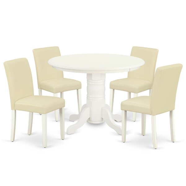 Wolak 5 Piece Solid Wood Breakfast Nook Dining Set by August Grove August Grove