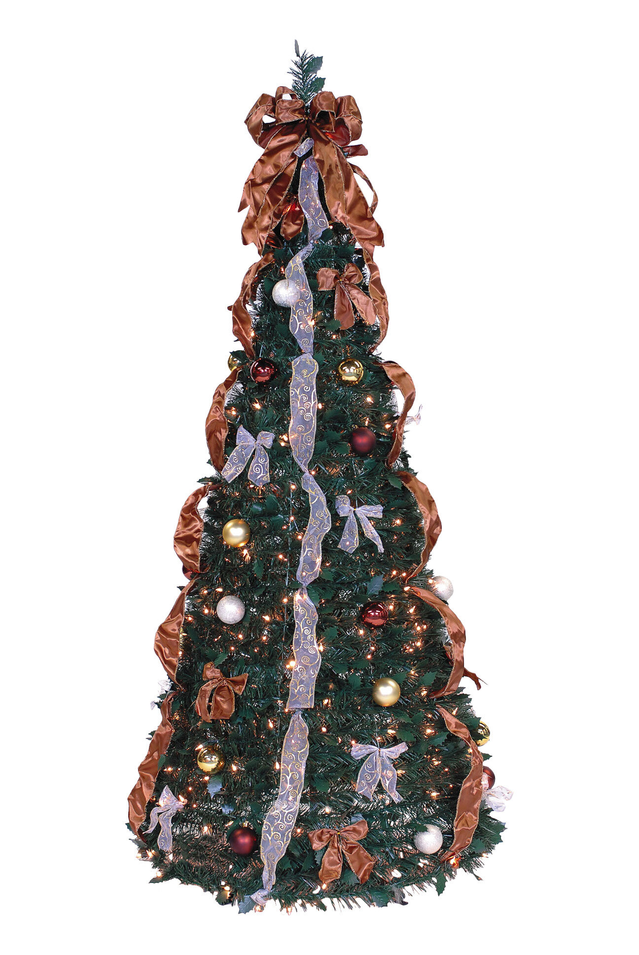 Christmas Tree With Lights.Pop Up 6 Green Pine Artificial Christmas Tree With 350 Clear Lights