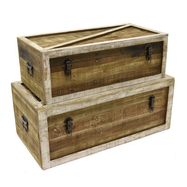 Arkwright Wood 2 Piece Trunk Set by Foundry Select
