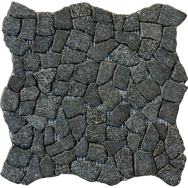Flat Meshed 16 x 16 Granite Pebble Mosaic Tile in Charcoal by MSI