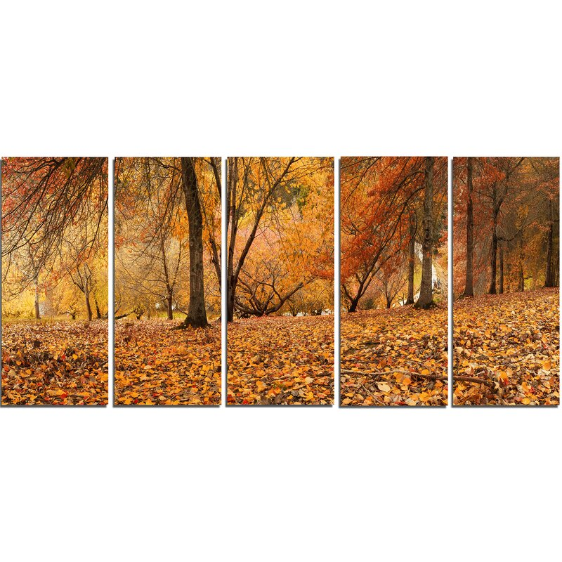 DesignArt Brown Autumn Panorama 5 Piece Wall Art on Wrapped Canvas ...