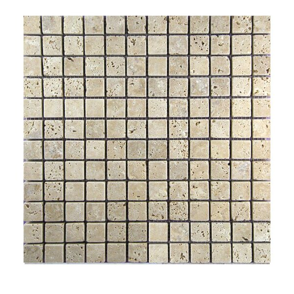Tumbled 1 x 1 Natural Stone Mosaic Tile in Walnut by QDI Surfaces