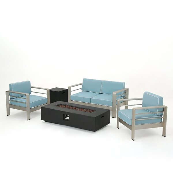 Berryville 5 Piece Aluminum Conversation Set with Cushions by Wade Logan