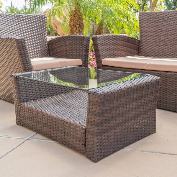 Fontes 4 Piece Rattan Sofa Set with Cushions by Highland Dunes