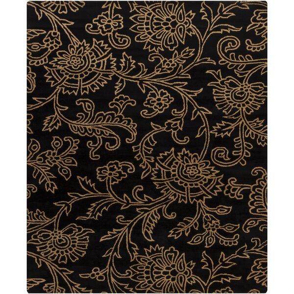Shuntae Swirls Floral Black/Gold Floral Area Rug by Red Barrel Studio