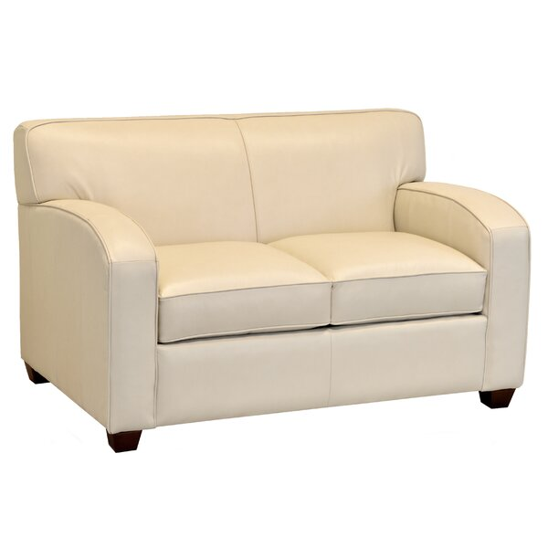 Made In Usa Pacursa Cream Top Grain Leather Loveseat By Ebern Designs