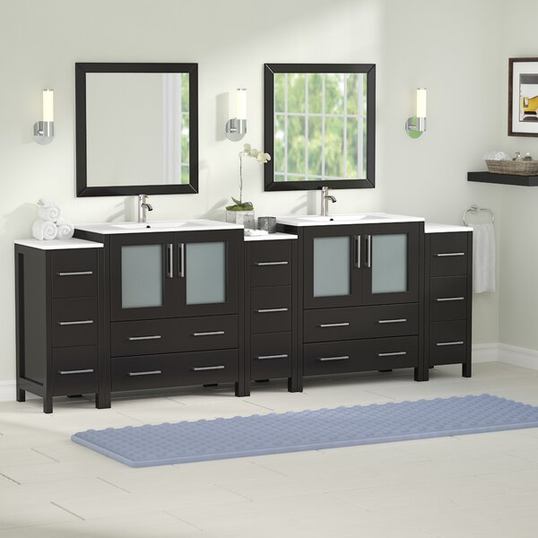 Karson Modern 96 Double Bathroom Vanity Set with Mirror by Wade Logan