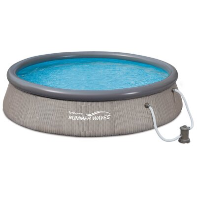 """Summer Waves Quick Set 12' X 36"""" Inflatable Above Ground Swimming Pool With Pump Polygroup Trading Ltd -  P10012362"""