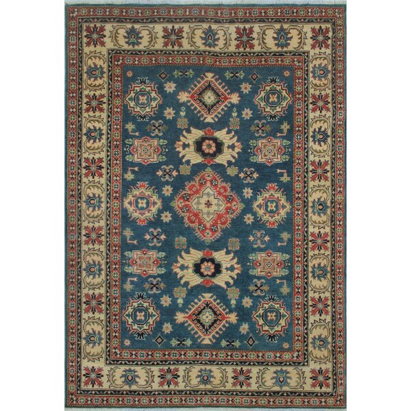 Cresta Kazak Hand Knotted Wool Blue Area Rug by Canora Grey