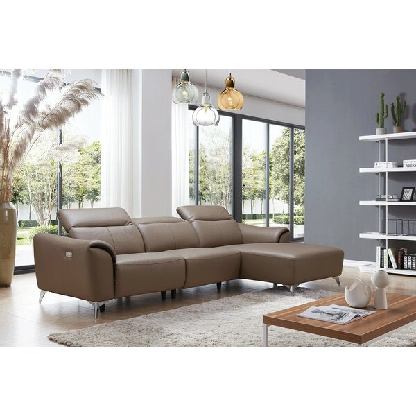 Zebediah Leather Reclining Sectional by Orren Ellis Orren Ellis