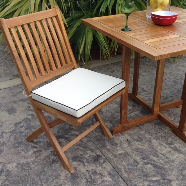 Everleigh Folding Teak Patio Dining Chairs with Cushion (Set of 2) by Bay Isle Home