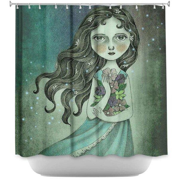 Flower the Midnight Goddess Shower Curtain by DiaNoche Designs
