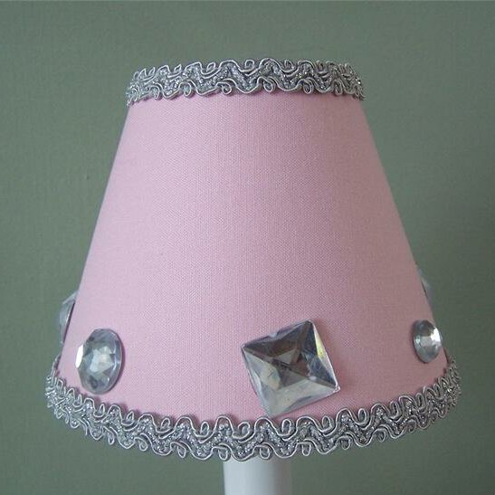 7 H Fabric Empire Lamp shade ( Screw on ) in Pink/Gray