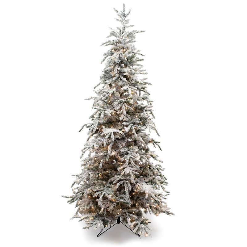 Flocked Balsam Green Pine Artificial Christmas Tree
