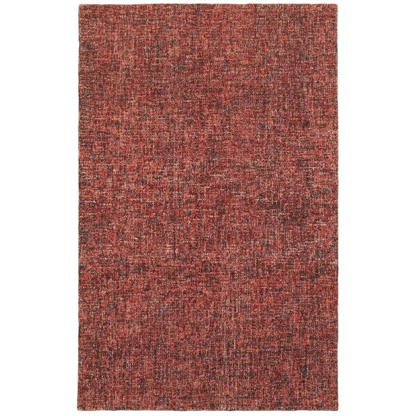 Laguerre Warm Boucle Hand-Hooked Wool Red Area Rug by Gracie Oaks