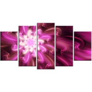 'Exotic Dance of Purple Flower Petals' Graphic Art Print Multi-Piece Image on Canvas by Design Art