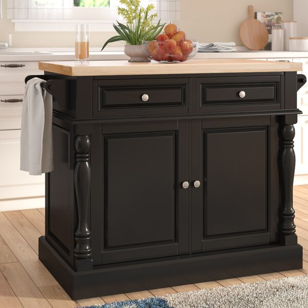 Haslingden Kitchen Island with Butcher Block Top by Three Posts
