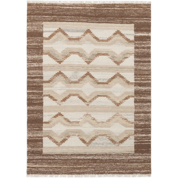 McPhail Hand-Woven Wool Brown/Cream Indoor Area Rug by Union Rustic