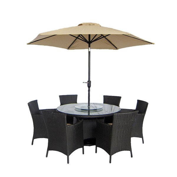 Brookfield 9 Piece Dining Set with Cushions by Breakwater Bay