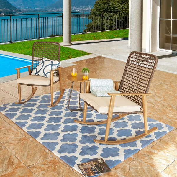 Lattin 3 Piece Rattan Seating Group with Cushions by Highland Dunes