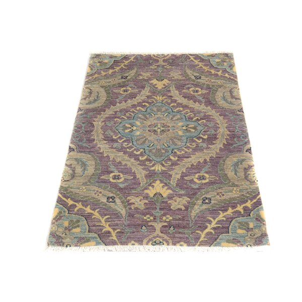 One-of-a-Kind Palmquist Hand-Knotted Wool Purple/Beige Area Rug by Bloomsbury Market