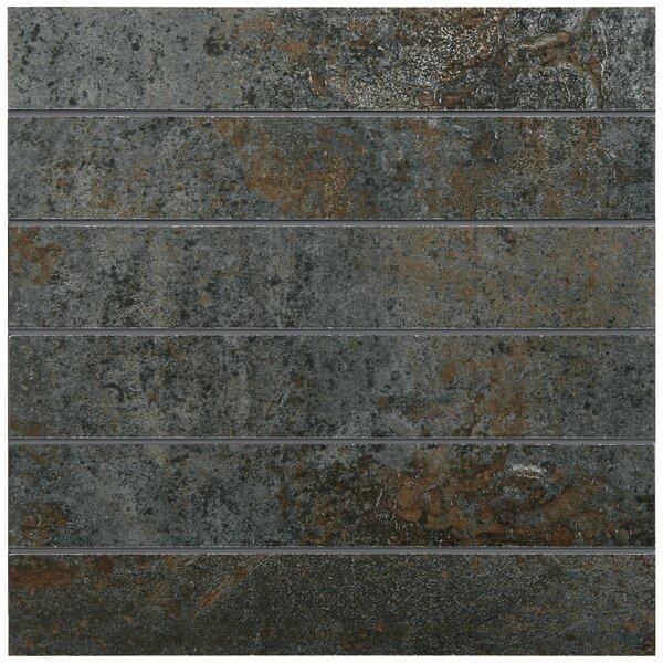 Common Core 2 x 12 Porcelain Mosaic Tile in Steel by PIXL