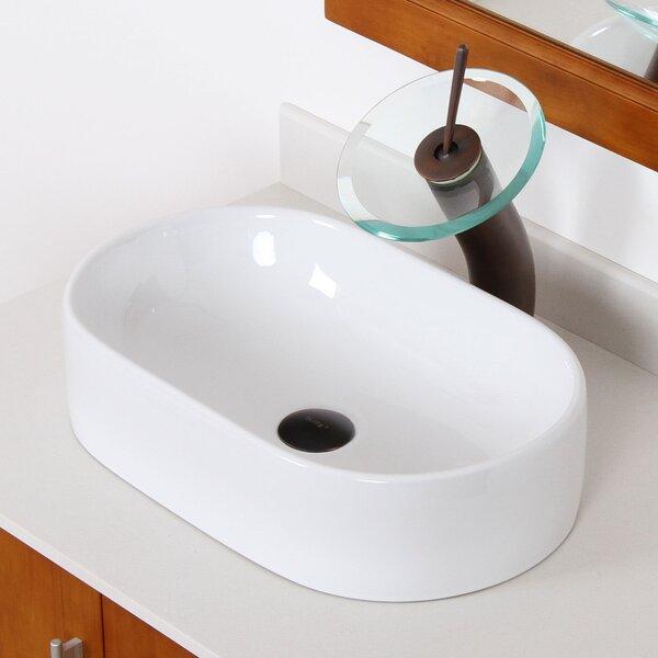 Ceramic Oval Vessel Bathroom Sink by Elite